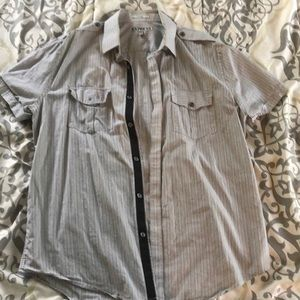 Express fitted short sleeve button up size large